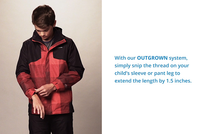 OUTGROWN™ logo - Internal sleeve/pant grow system for kids